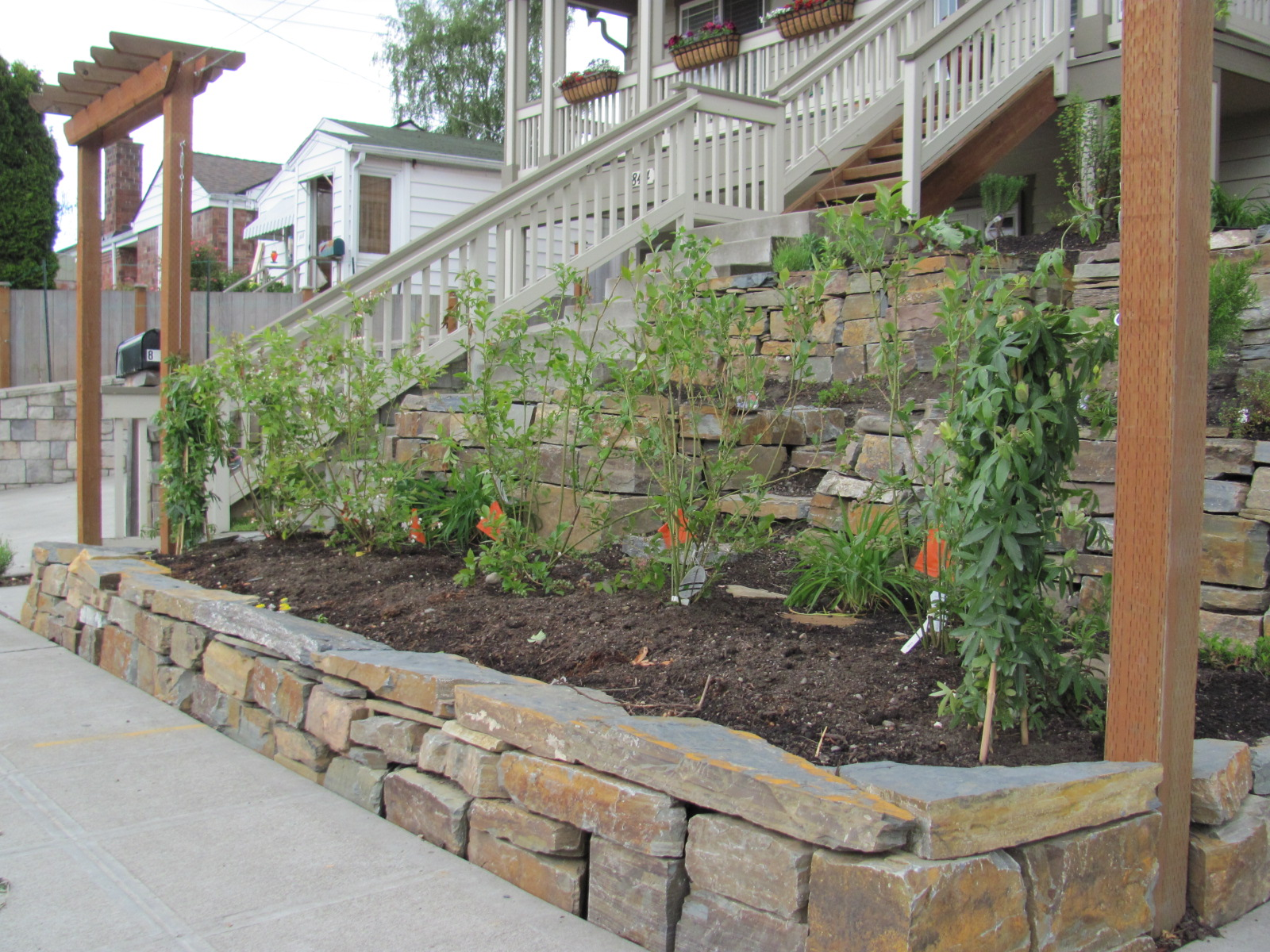 Sloped Front Yard Raised Beds